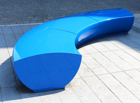 6. Serpentine seating bright colours for commercial and public spaces.