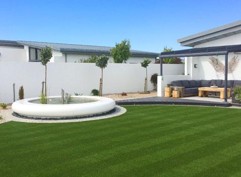 1. Aqua Corona Water Feature, landscape garden design centrepiece in Jersey.