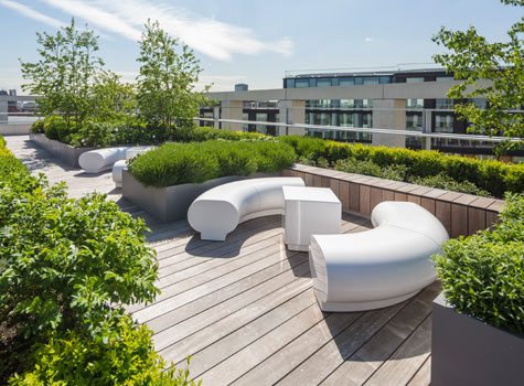 1. Halo white seating - Kings Cross, Pancras Square, London roof top garden.