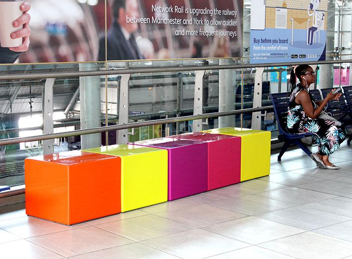 Bold 'Cubes' of colour create a modern feel.