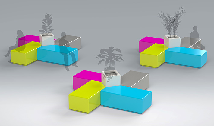 The new collection includes Island seating, a cleverly designed modular seat with a planter option.