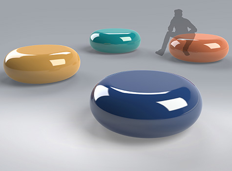 1. Pompidou seating creates a lounge feel and adds a pop of colour to large spaces.
