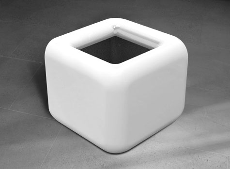 Modern cube shaped quattro planter for interior design and garden landscapes.