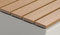 Urban seating with oak wood slats
