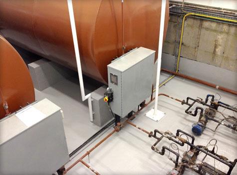 4. Generator room tank bund coatings with GRP fibreglass.