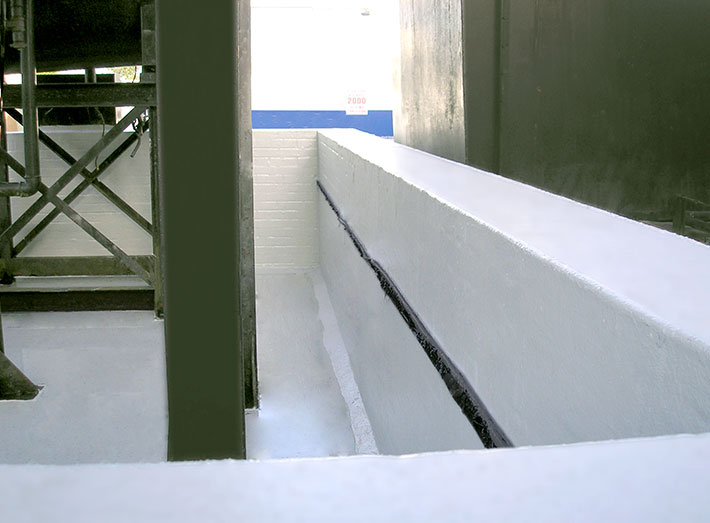 GlyCol bund with completed GRP lining.