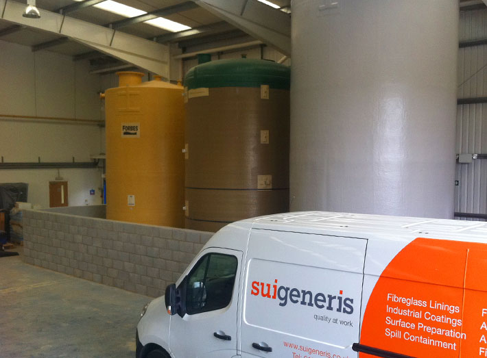 3 chemical storage silos in position and final wall built, the bund is ready for fibreglass lining completion.