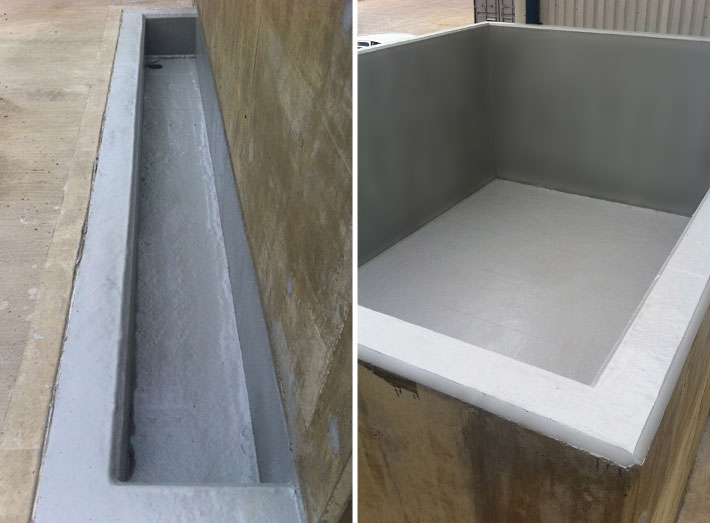 Completed GRP lining of chemical loading pit, with walls and floor of the acid silo bund.