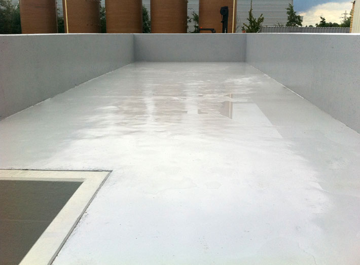 Completed GRP lining and epoxy coating system to floor and walls of the waste water bund.