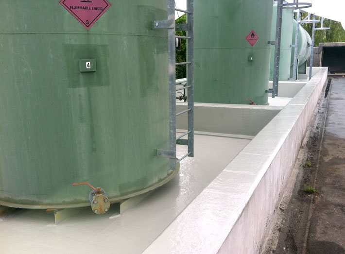 Completed GRP fibreglass lining to the flammable liquid storage tank bunded area.