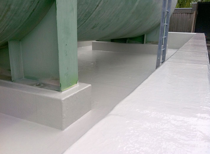 GRP lining complete, bund now fully encapsulated, including all internal wall surfaces and tank supports.
