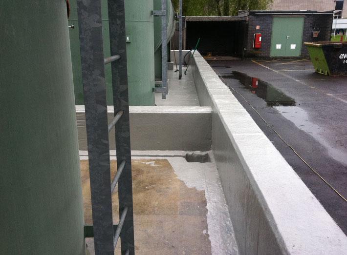 The new fibreglass lining encloses all internal walls, gullies and sumps.