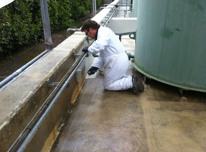 A fibreglass lining is the only practical solution for sealing in complicated structures in a bunded containment area.