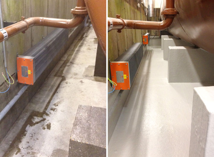 Generator bund before and after: tank wall and floor areas GRP lined.