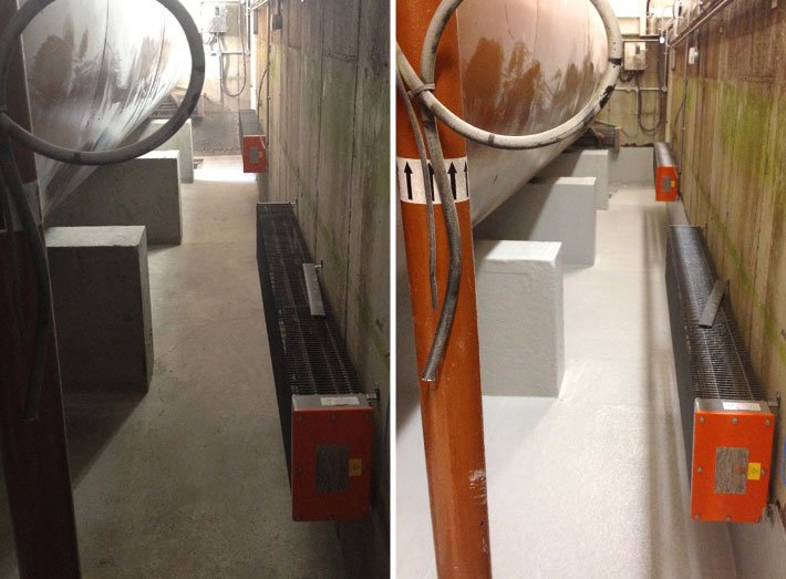 Generator bund before and after: tank wall and floor area with GRP lining.