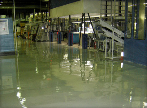 17. Industrial floor coating at a print works.