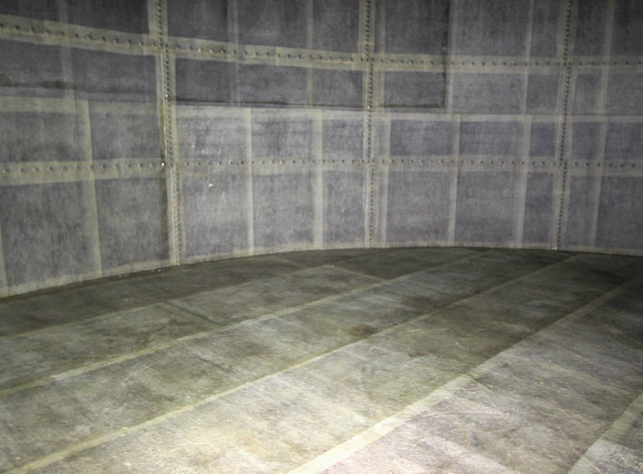 GRP matting is applied to all walls and joints, then impregnated with polyester resin.