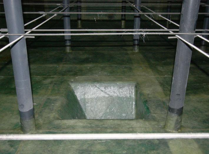 Detail of floor, fibreglass lining in progress.