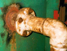Pipe connection corroded and leaking
