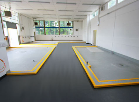 5. Bunded machine areas with GRP floor lining.