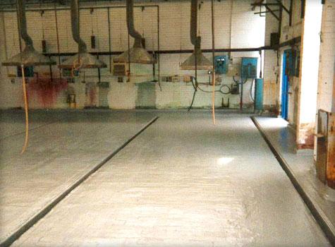 13. Complete floor & gully fibreglass lining.