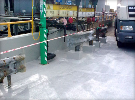 15. Chemical resistant floor lining in tanker loading bay.
