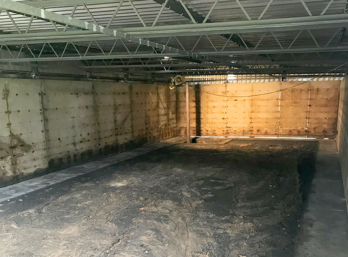 Failed butyl liner removed, existing interior inspected and all plywood walls replaced.