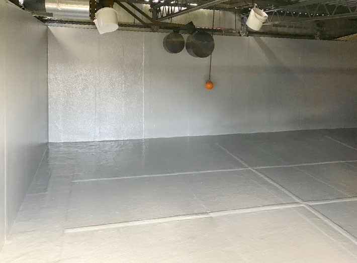 Final gel coat applied providing complete seal, finished liner allowed to fully cure over 7 days.