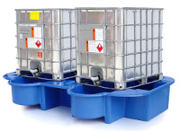 Double IBC Bund, Spill Pallet with drip tray, blue