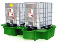 Double IBC Bund, Spill Pallet with drip tray, green