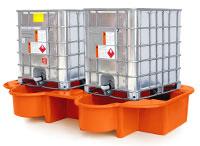 Double IBC Bund, Spill Pallet with drip tray, orange