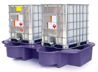 Double IBC Bund, Spill Pallet with drip tray, purple