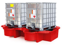 Double IBC Bund, Spill Pallet with drip tray, red