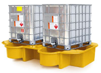 Double IBC Bund, Spill Pallet with drip tray, yellow