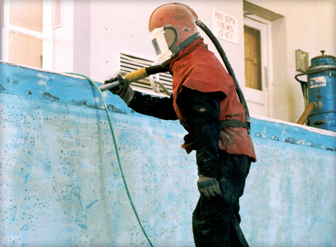 12. Surface preparation for pool fibreglass lining